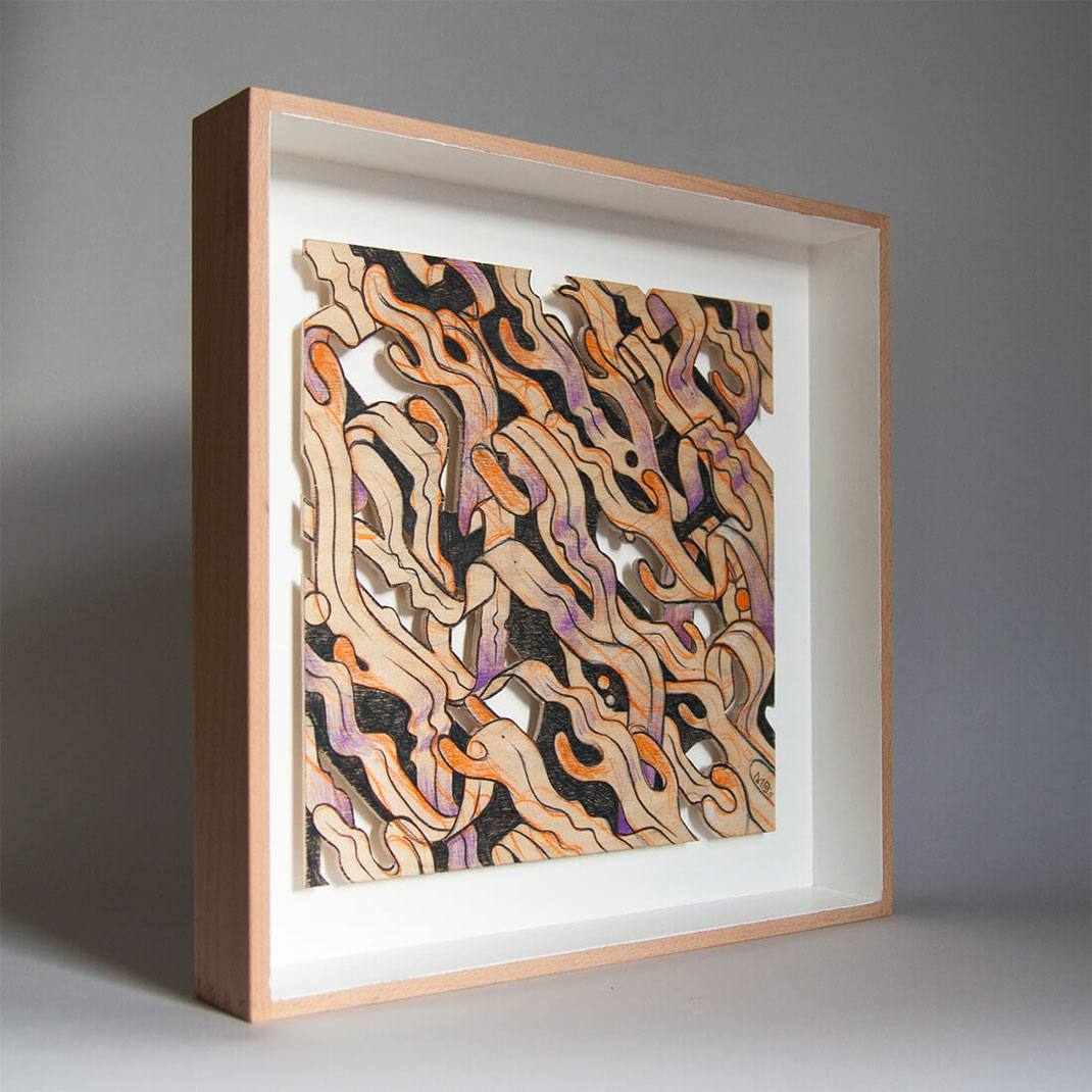 Handarbeit Holzbild Seaweed