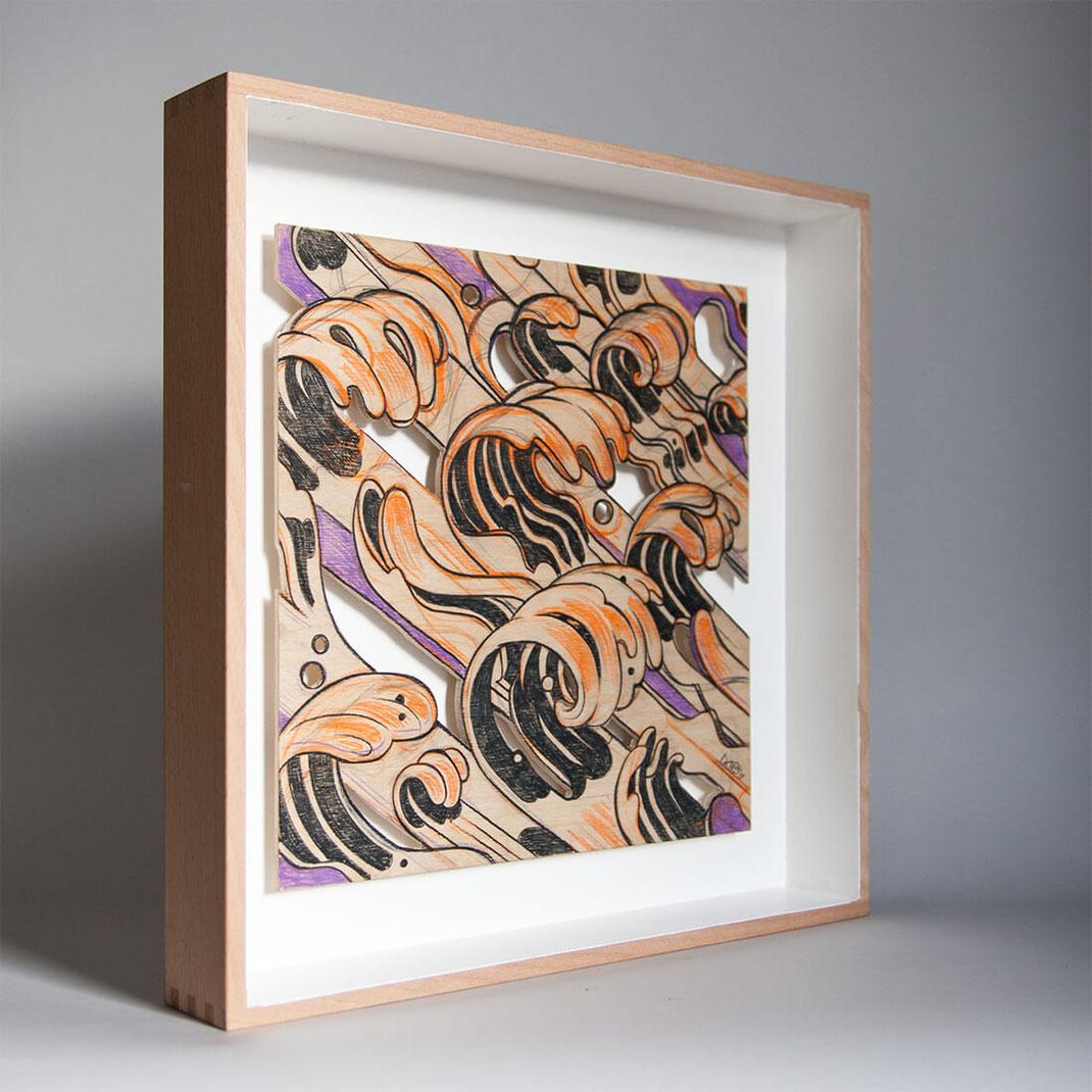 Handarbeit Holzbild Waves