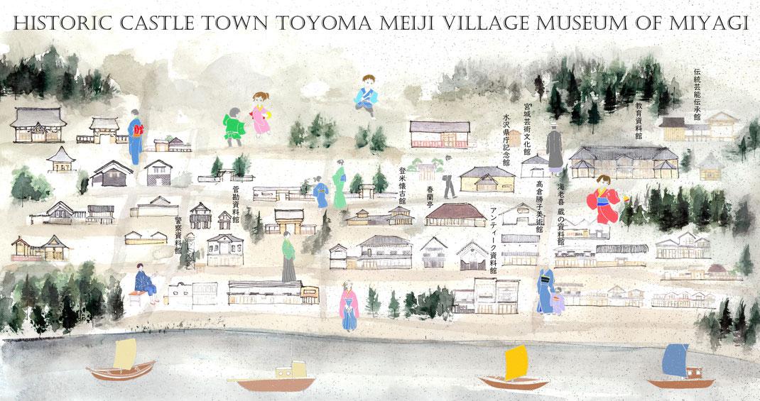 NHK連続テレビ小説「おかえりモネ」ロケ地登米。登米市登米町「みやぎの明治村」のハイカラな建物や人物を描いたイラストマップ
