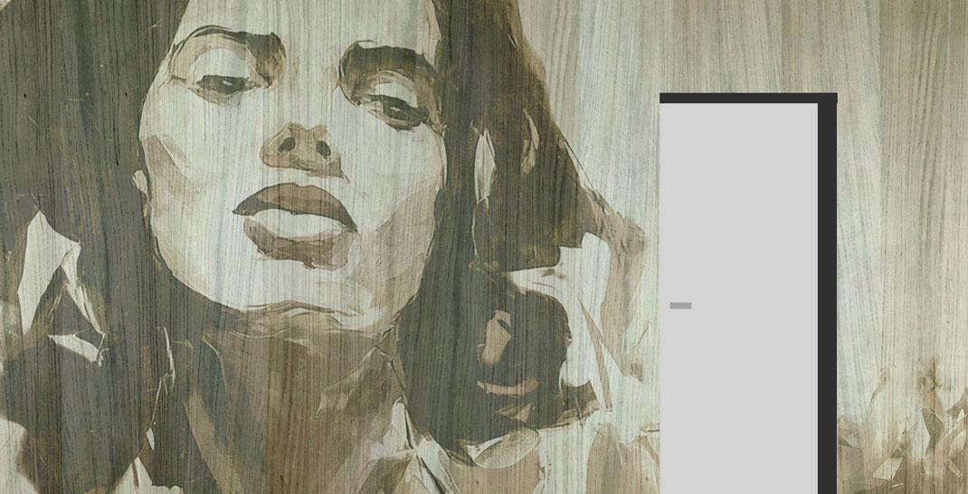 Wandverkleidung mit riesiger Illustration eines Frauen-Portrait in beige bis braun Tönen. Holzoptik als Gestaltungsoption