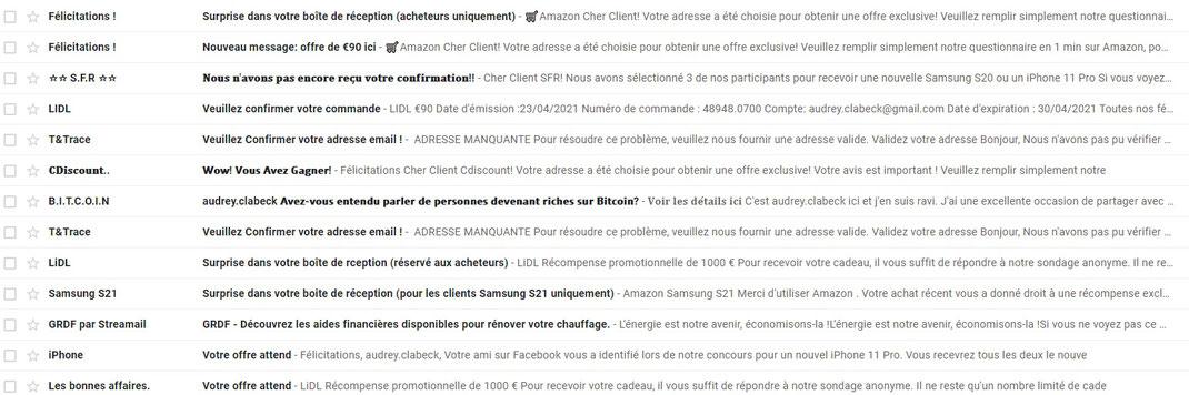 Exemples de messages spam dans Gmail