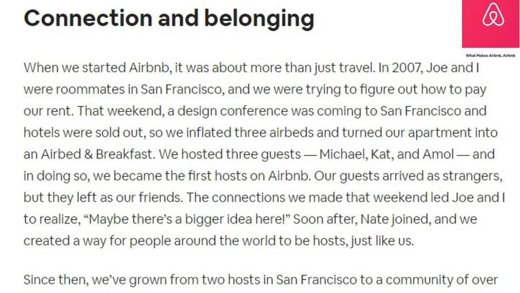 Histoire façon storytelling d'Airbnb