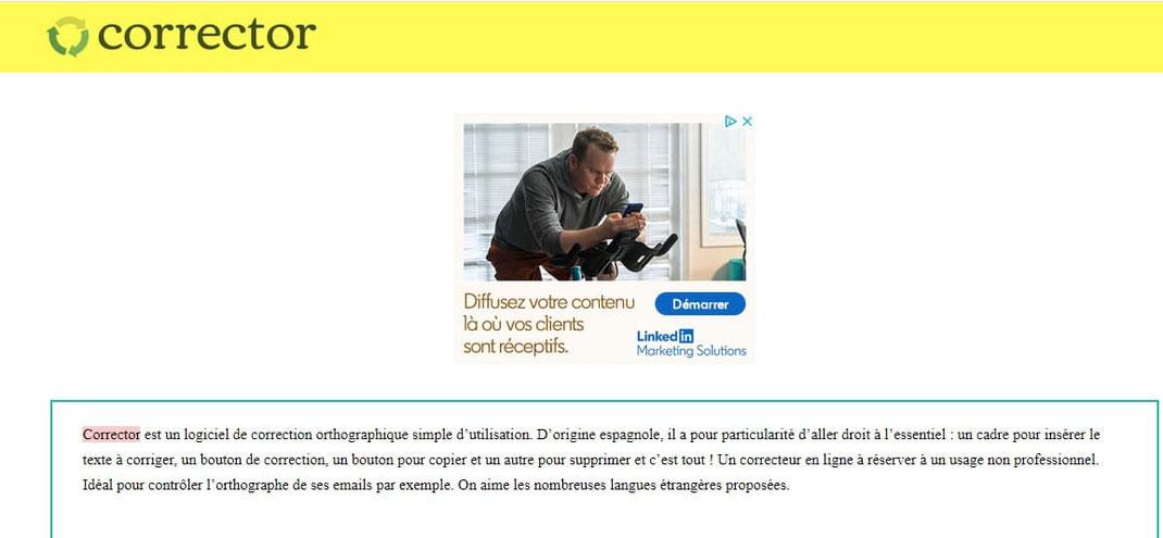 screenshot du test de correction d un texte avec Corrector
