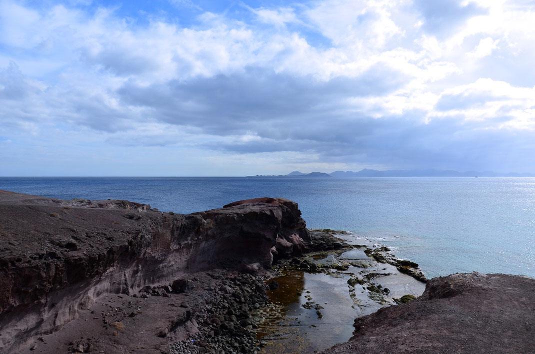 Playa Blanca, abends am Castillo de las Coloradas