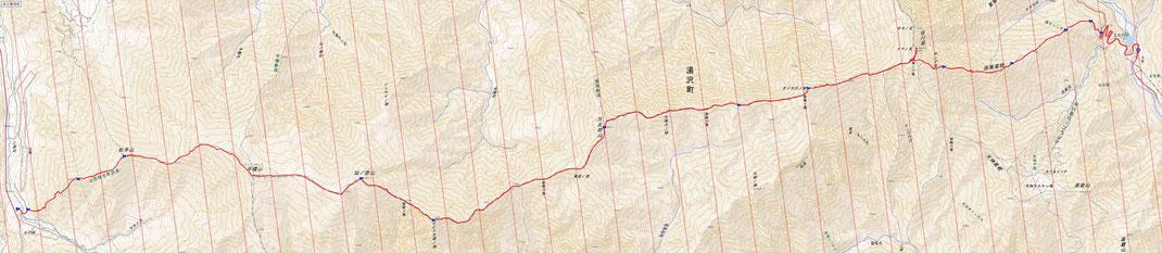 西黒尾根~谷川岳ルート図