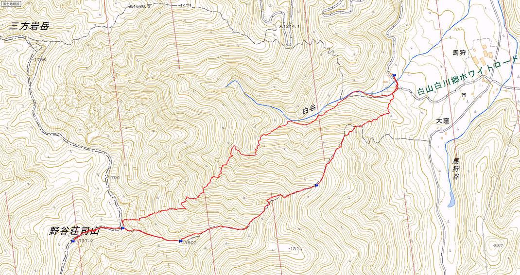 野谷荘司山 山スキールート図