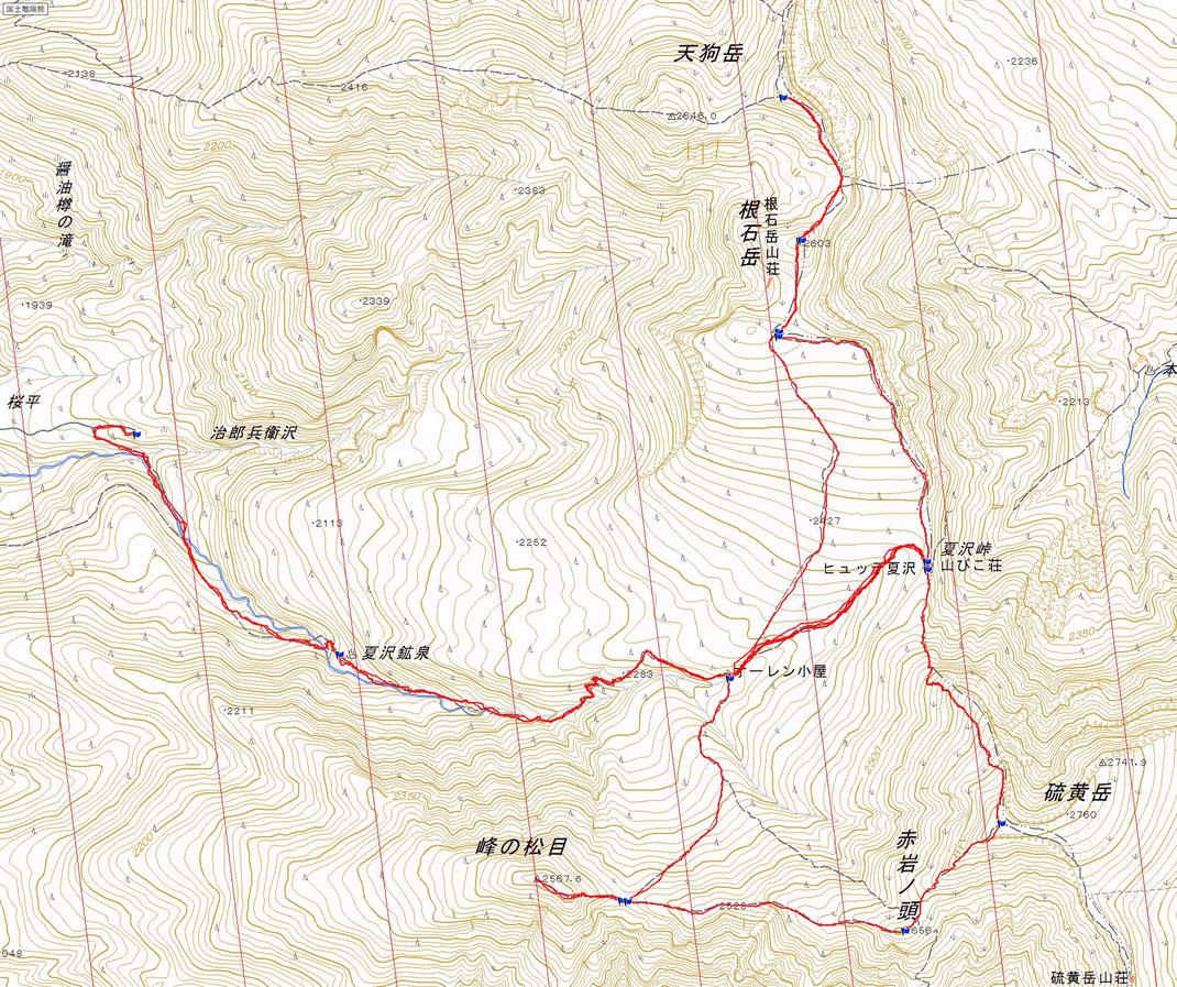 八ヶ岳 天狗岳、硫黄岳ルート図