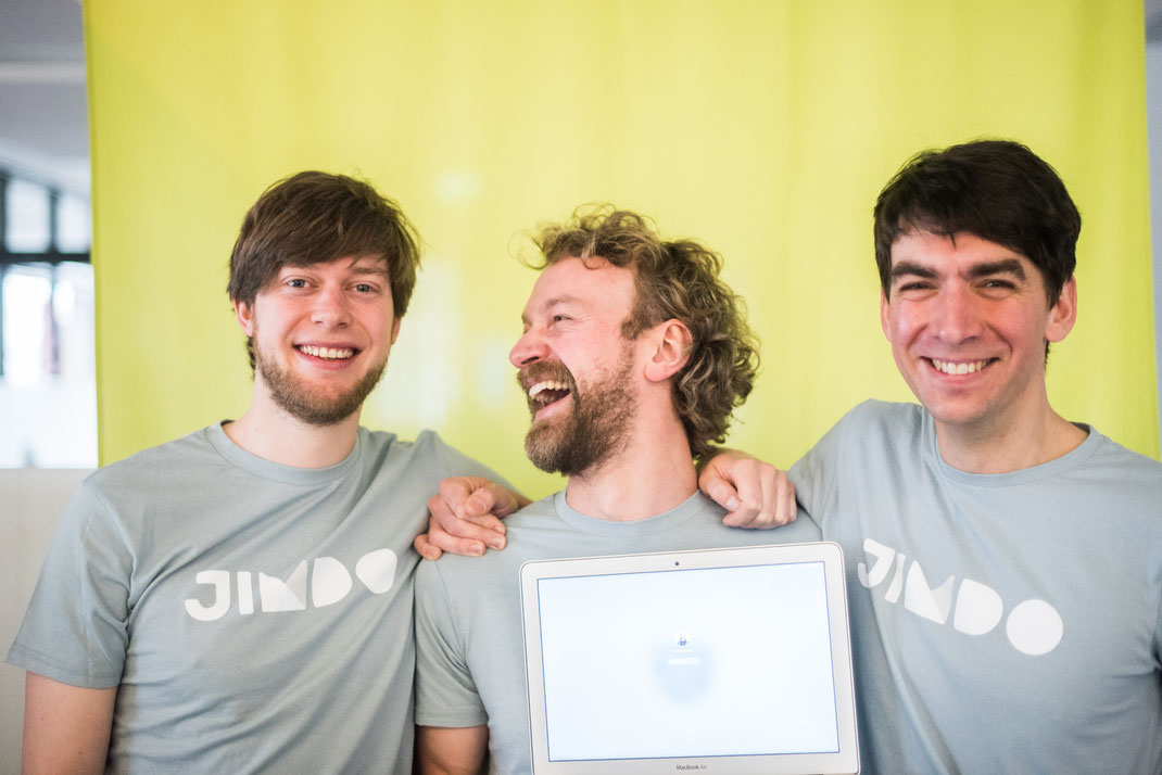 Jimdo's three founders: Christian Springub (left), Fridtjof Detzner (center) and Matthias Henze (right).