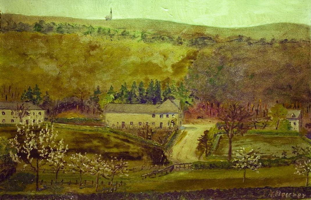 Die Flög in Hauset 1936 mit Pelzerturm im Aachener Wald