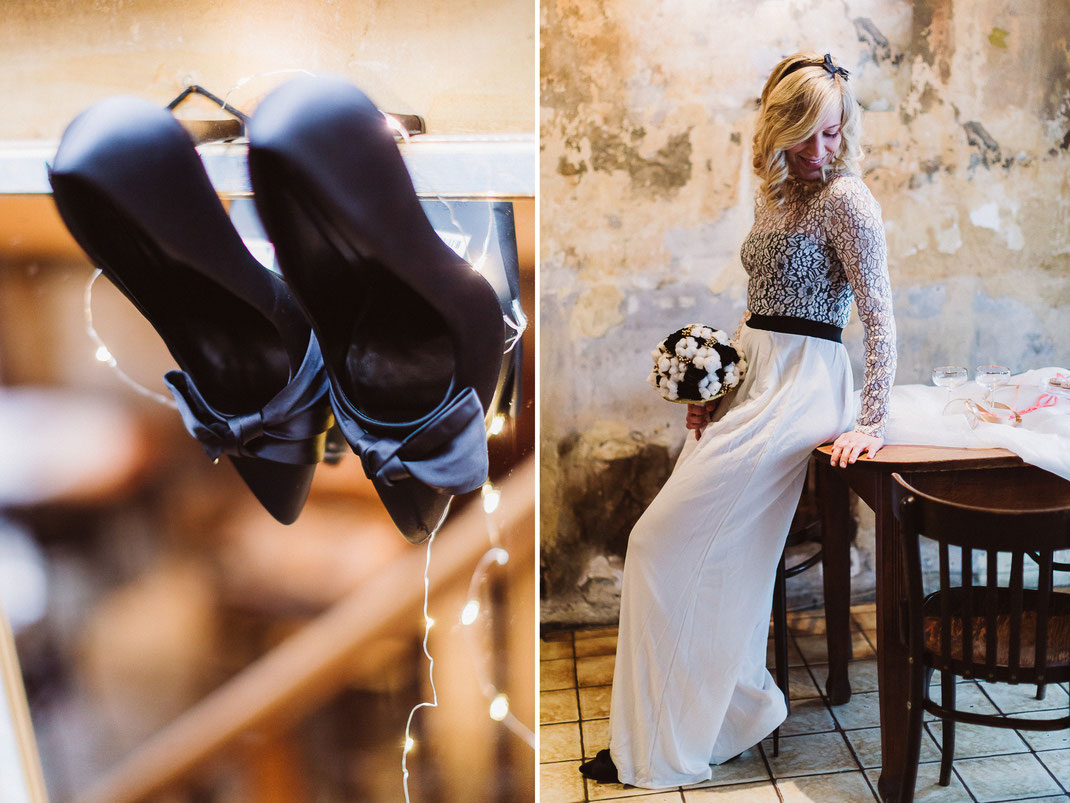 carolin ghodoussi, restaurant bandonion, rare, jumpsuit, kellys macarons, eventfloristik eichinger, braut, bride, wedding, hochzeit, wedding inspiration, stylshoot, black and white, dipdiy, sabine lange