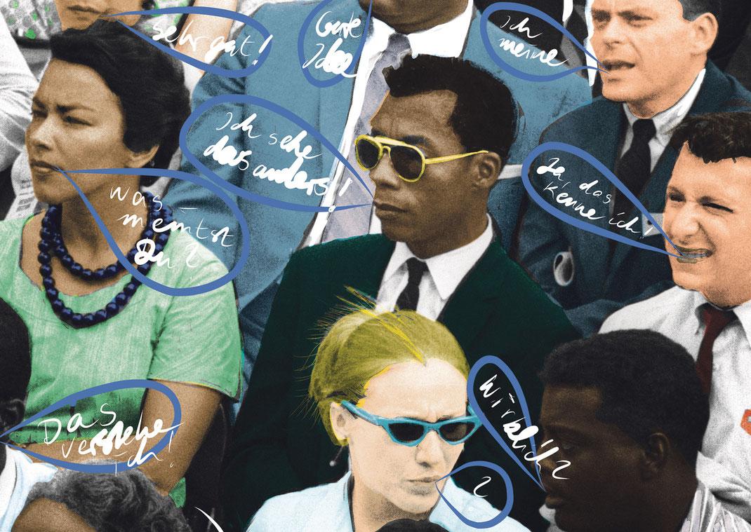 """llustration von Eva Rusch unter Verwendung eines Fotos von Dan Budnik mit James Baldwin in der Mitte (Aktueller Film """"I Am Not Your Negro"""") ."""