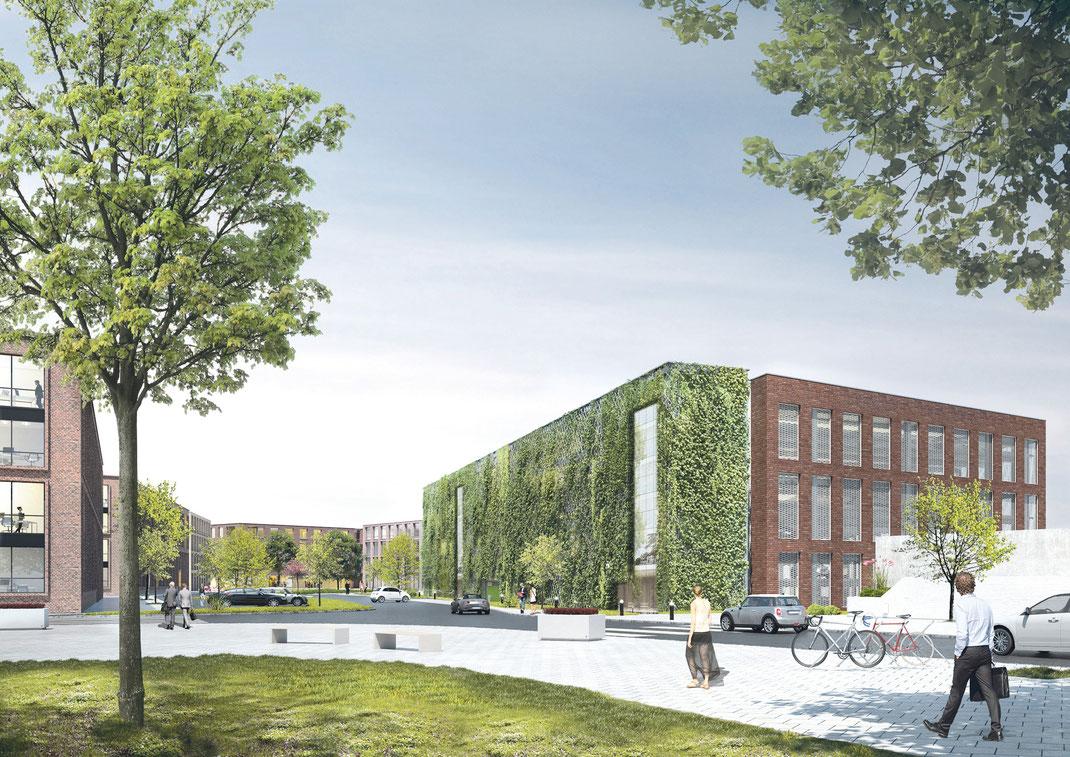 """Dieses begrünte Parkhaus (Visualisierung) wird voraussichtlich im August 2020 fertiggestellt. Die ersten beiden Bürogebäude folgen Ende 2020 mit dem """"Haus am Platz"""" und dem Design Offices Haus. Die Gesamtfertigstellung des Quartiers wird voraussichtlich i"""