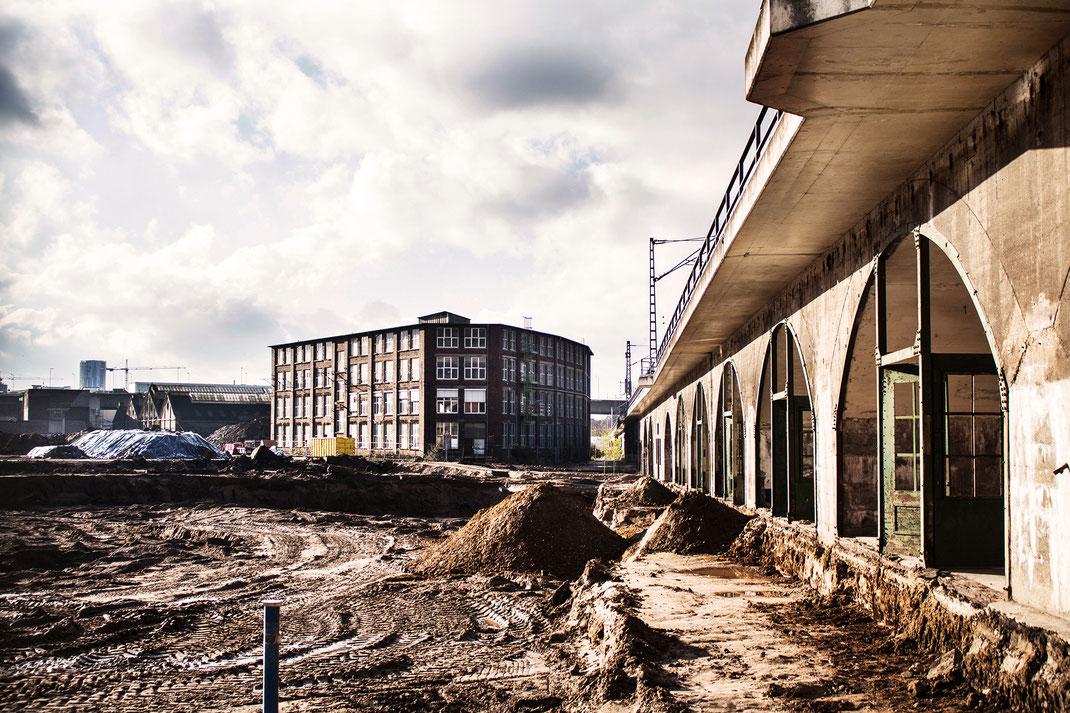 Blick auf das Cologneo I: Bögen unter der EC-Trasse, im Hintergrund der Eckige Rundbau und die Schwebebahnhalle. Foto: Benja Weller