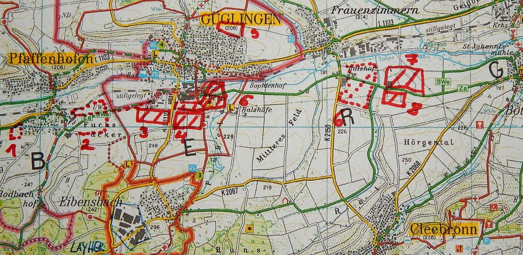 Ergänzung der seit 2007 (Stand der Karte Freizeitkarte NeckarZaberTourismus) hinzugekommenen noch geplanten (Stand 2018) Gewerbe- und Industriegebiete sowie Wohngebiete
