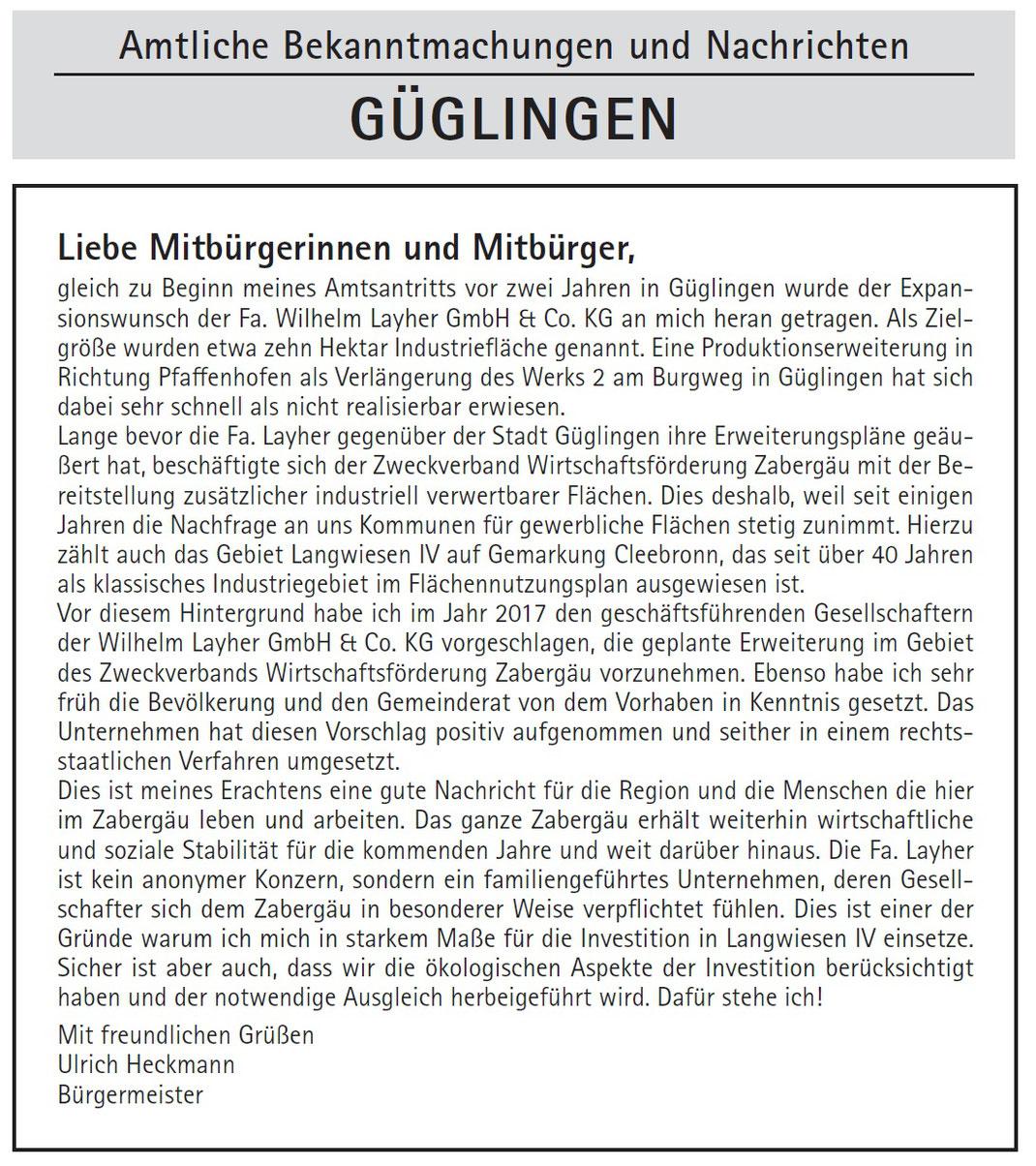 Amtsblatt Rundschau Mittleres Zabergäu, 18.10.2019, Seite 1, Bürgermeister Heckmann sieht sich genötigt, über angebliche Rechtmäßigkeit und Notwendigkeit der industriellen Verwertung von besten Flächen bei Frauenzimmern zu schreiben.