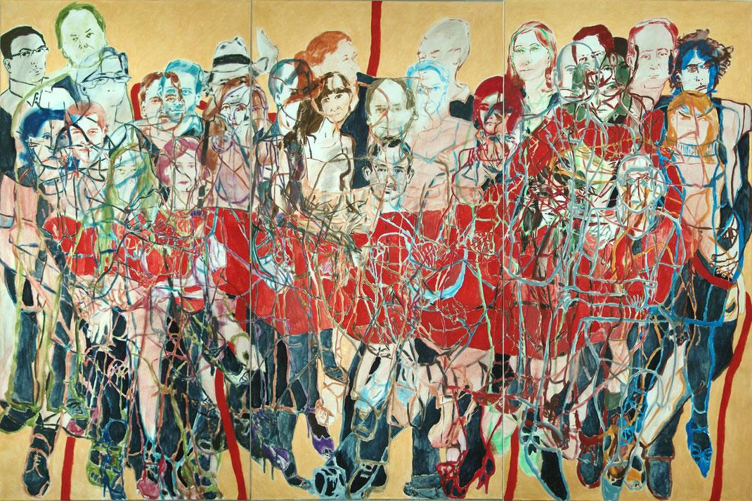Wiener Reigen/Tango Organ, Eva Hradil, 2011-2013, Eitempera auf Halbkreidegrund auf LW, 200 x 300 cm, Triyptichon
