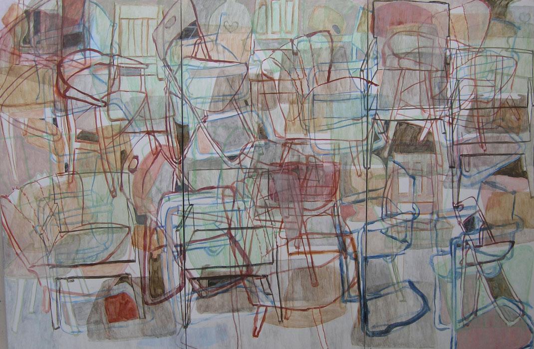 """Eva Hradil """"Liechten-Grund"""" 2009, Eitempera auf Halbkreidegrund auf Leinwand, 200 x 300 cm (Triptychon)"""