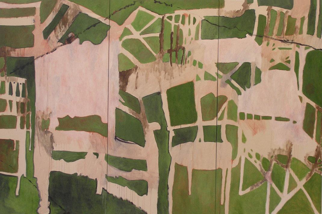"""Eva Hradil """"Hintergrund I"""" 2006 Eitempera auf Halbkreidegrund auf LW, 200 x 300 cm (Triptychon)"""
