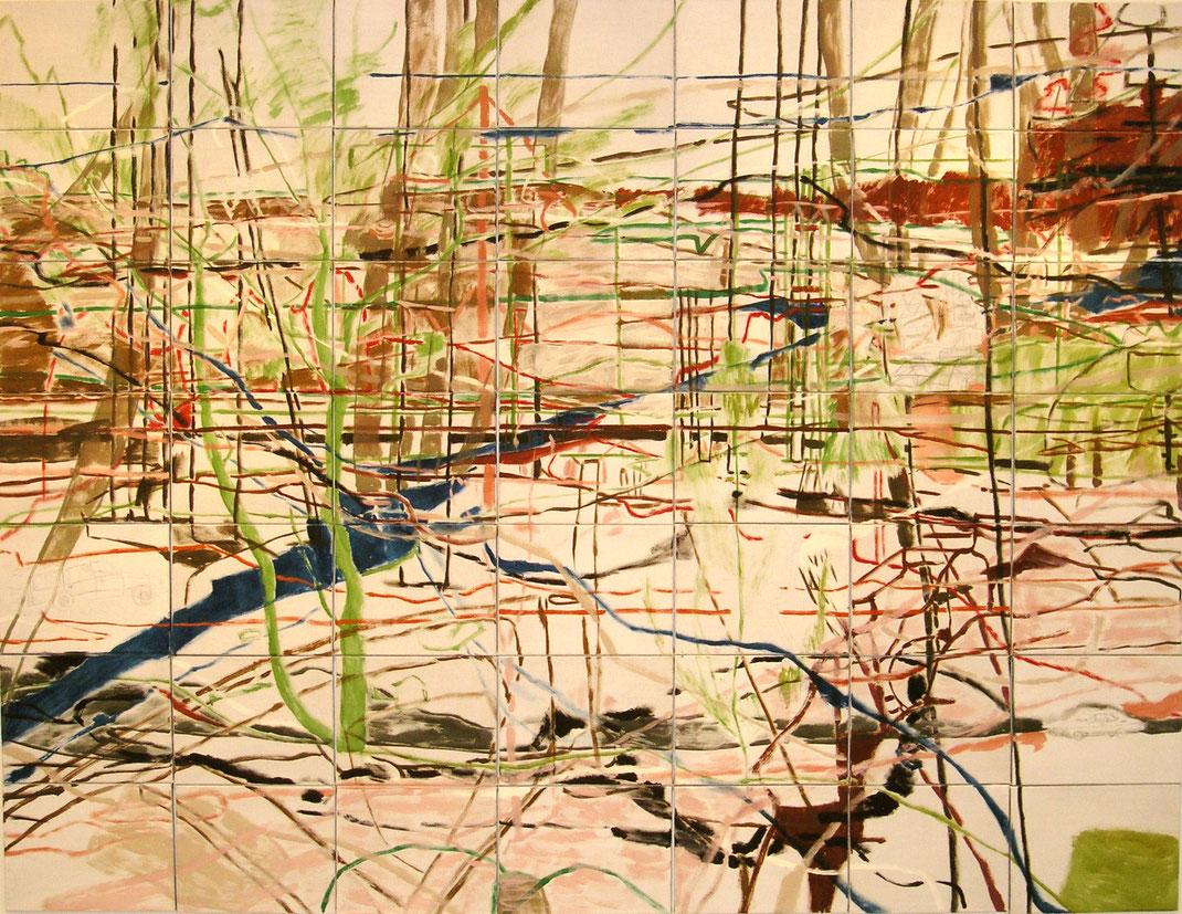 """Eva Hradil """"To be part of"""" 2007 Eitempera auf 49 Leinwände, montiert 210 x 280 cm"""