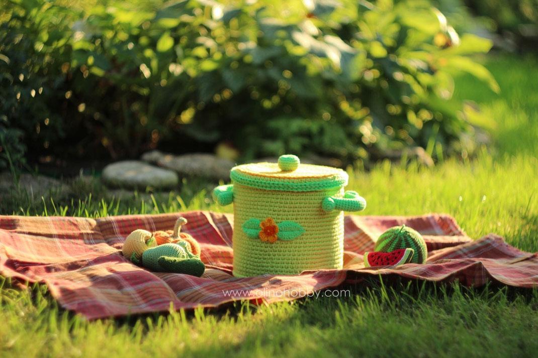 Вязаная кастрюля с фруктами и овощами OlinoHobby. Crochet pot with vegs and fruits by OlinoHobby.