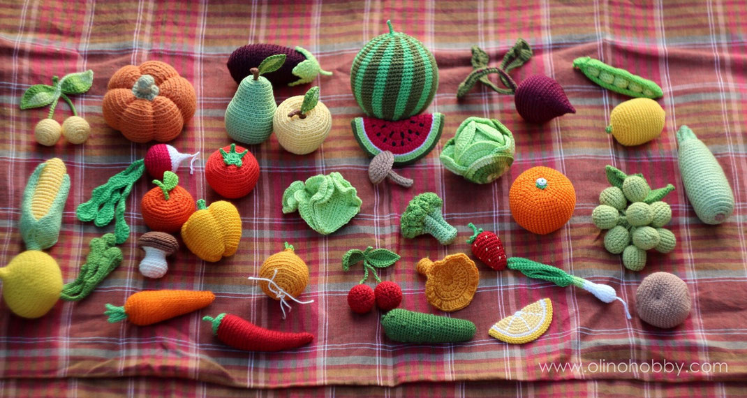 Вязаные фрукты и овощи OlinoHobby. Crochet fruits and vegetables by OlinoHobby.