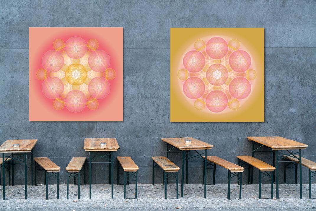 """Lebendige Mandalas aus der Serie """"Lebendige Liebe"""" © Susanne Barth - im öffentlichen Außen-Raum. Hier eine Montage mit Foto: Moose by Icons8"""