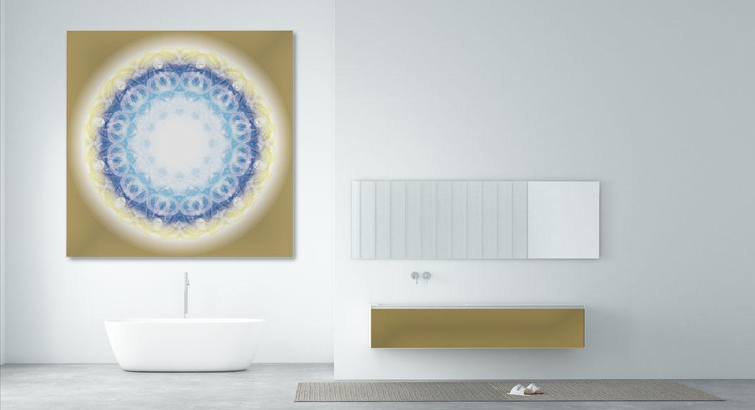 Lebendiger Meisterkristall  © Susanne Barth - in einem Bad. Freie Arbeit. Hier eine Montage mit Foto: Moose by Icons8