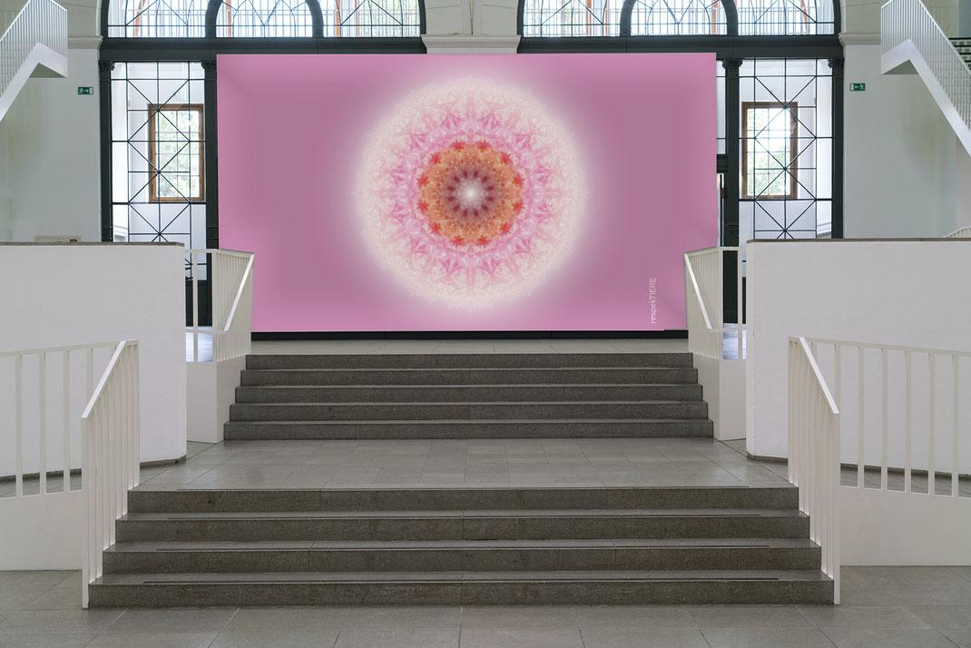 """Lebendiger Meisterkristall """"respekTIERE-Kristall"""" © Susanne Barth -  in einem öffentlichen Raum. Hier eine Montage mit Foto: Moose by Icons8"""