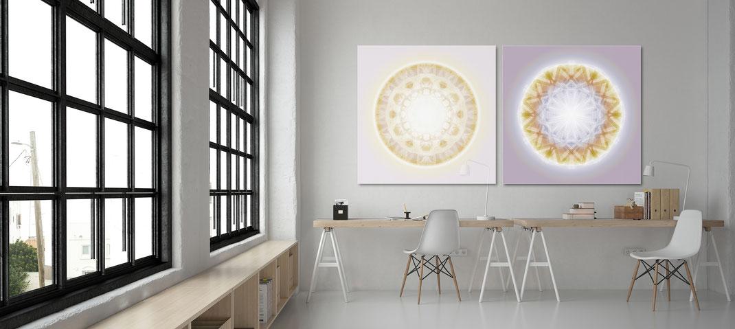 Lebendige Kristallbilder © Susanne Barth -  in einem Office. Hier eine Montage mit Foto: Moose by Icons8