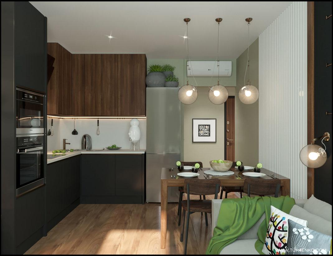 дизайн кухни в современном стиле в ЖК Среда 89163172980