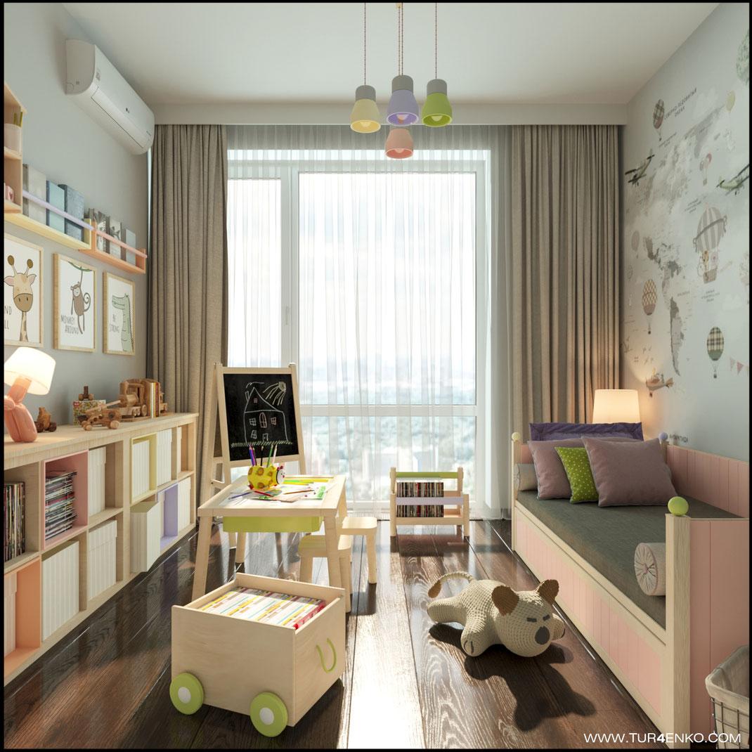 мимимишный дизайн детской комнаты в ЖК ЛАЙФ Кутузовский 89163172980