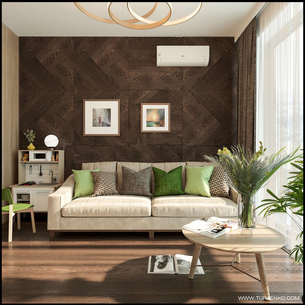 шпонированные стеновые панели в интерьере квартиры  в ЖК LIFE Кутузовский 89163172980