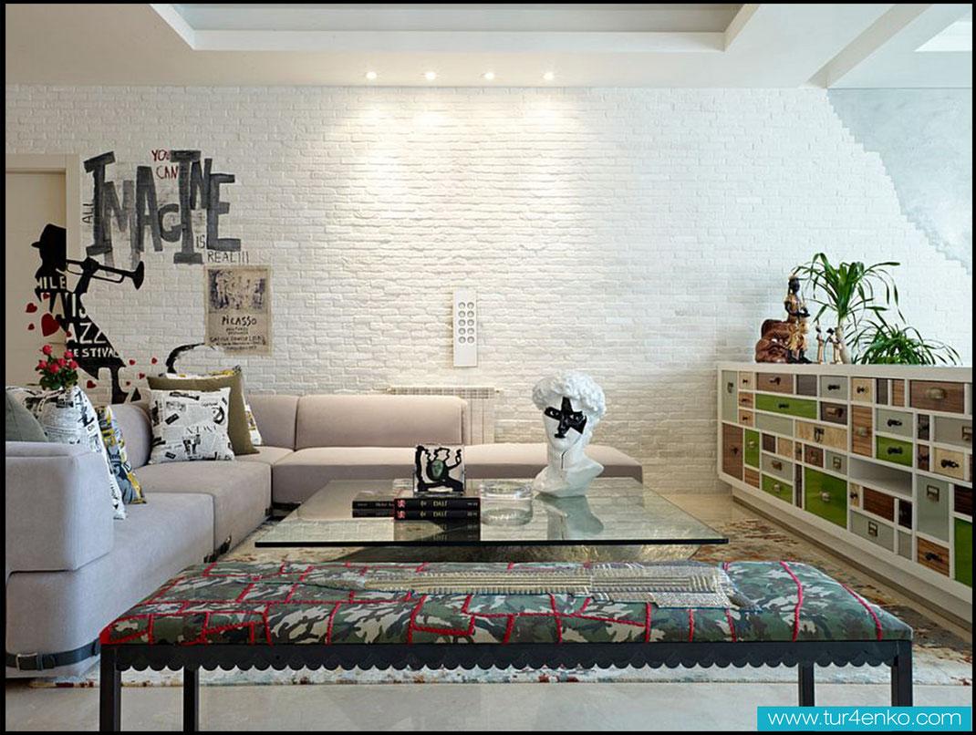 23 белый кирпич white brick ДИЗАЙН ИНТЕРЬЕРОВ МОСКВА 89163172980 www.tur4enko.com