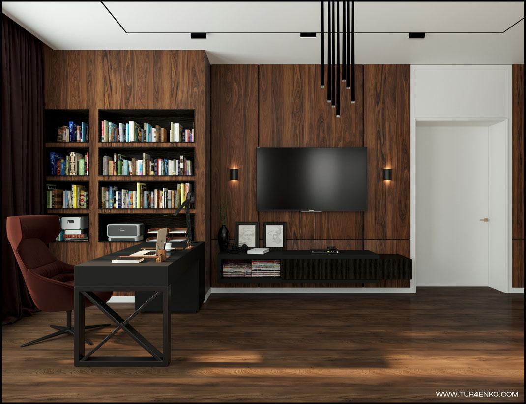 дизайн домашнего кабинета в современном стиле  в загородном доме 89163172980