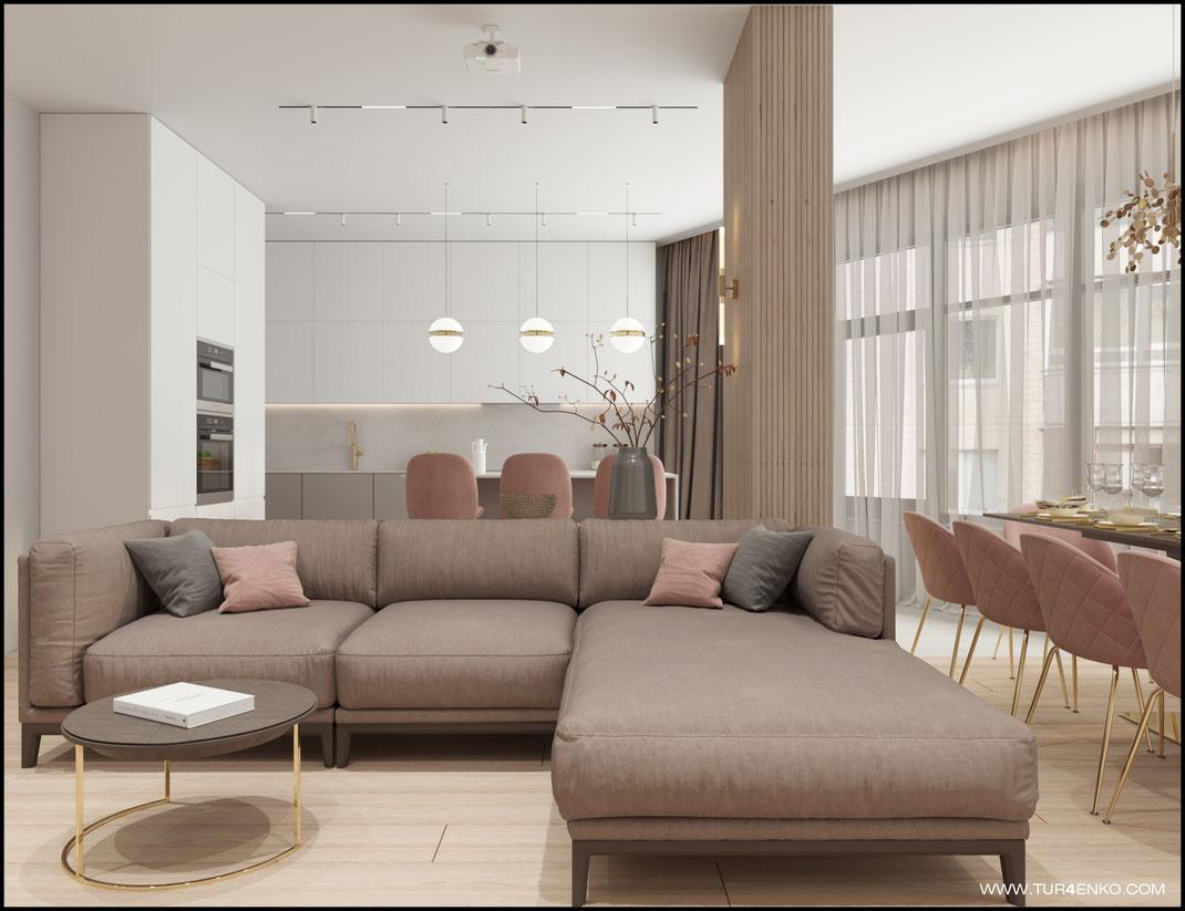 дизайн кухни-гостиной в пастельных тонах  89163172980 www.tur4enko.com