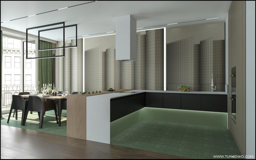 дизайн кухни-гостиной с интересными обоями в ЖК Премиум квартал JAZZ 89163172980