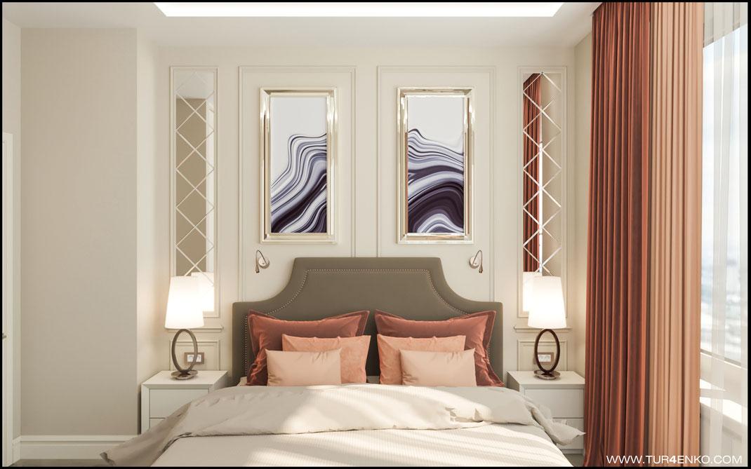 "дизайн спальни в ЖК ""Велтон парк"" www.tur4enko.com"