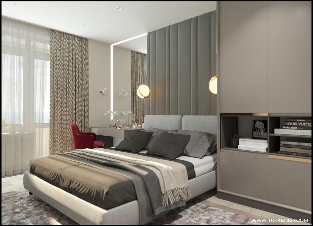 дизайн спальни в ЖК Летний сад 89163172980 www.tur4enko.com