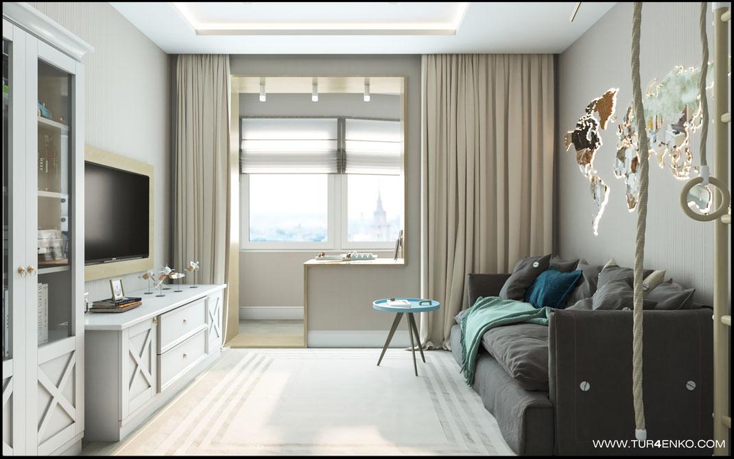 Дизайн квартиры в светлых тонах www.tur4enko.com