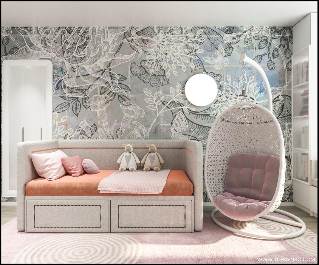 дизайн детской комнаты для девочки  в ЖК Летний сад 89163172980 www.tur4enko.com