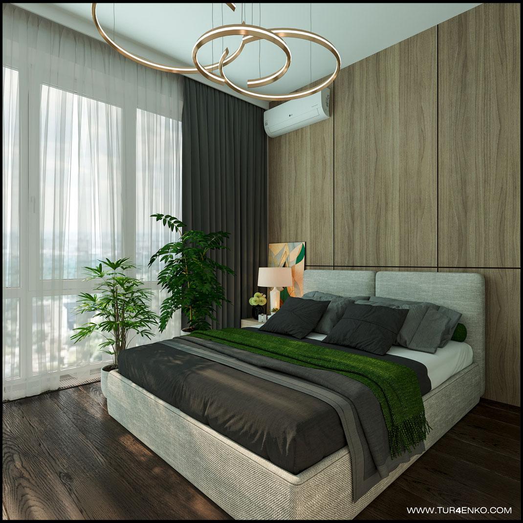 спокойный дизайн спальни в ЖК LIFE Кутузовский 89163172980