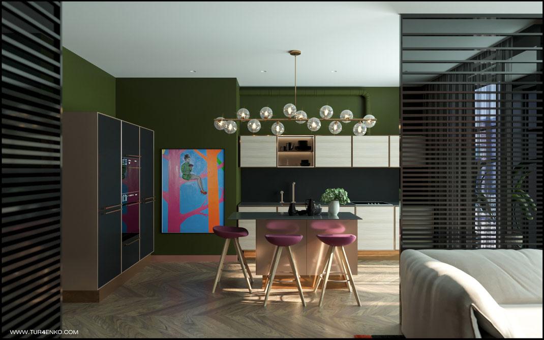 3 дизайн кухни в стиле contemporary в ЖК Зиларт 89163172980