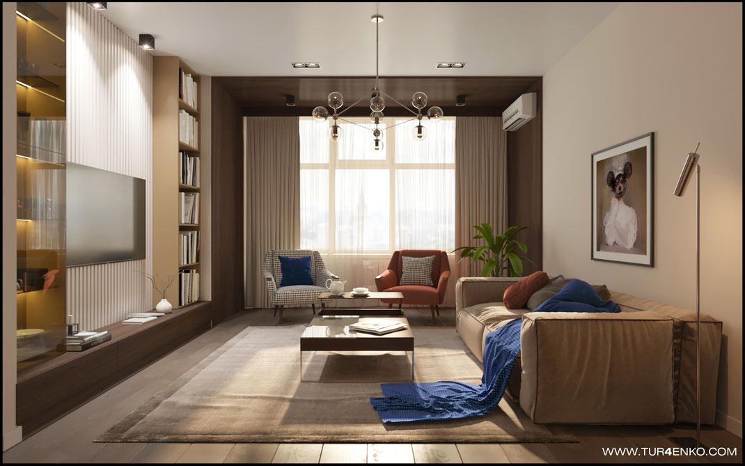 современный дизайн гостиной в ЖК Триколор 89163172980