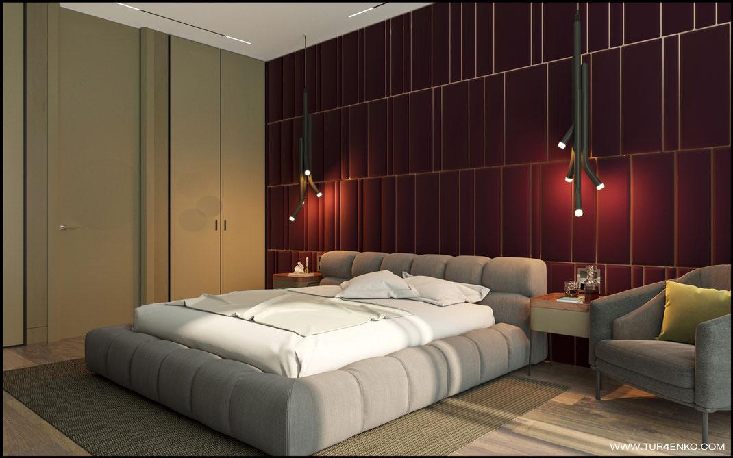 завуалированные встроенные шкафы в интерьере спальни в ЖК Премиум квартал JAZZ 89163172980
