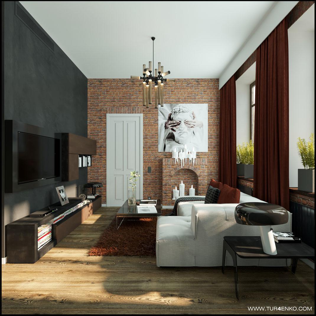 """дизайн гостиной в стиле лофт в ЖК """"Арт"""" Крост 89163172980"""