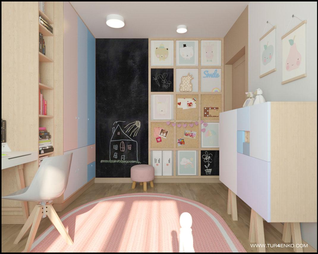 дизайн детской комнаты для девочки в пастельных тонах 89163172980