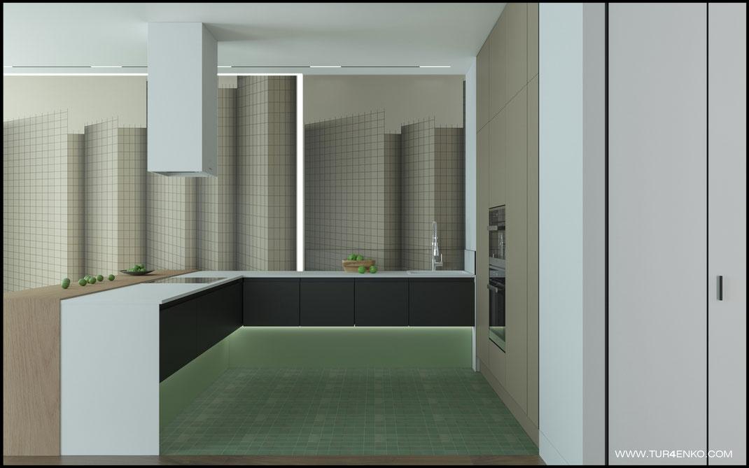 современный стильный дизайн кухни в ЖК Премиум квартал JAZZ 89163172980