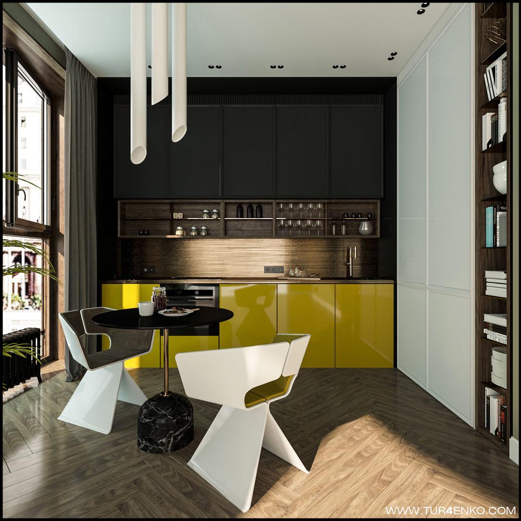 дизайн кухни в современном стиле в ЖК BAUMAN HOUSE 89163172980
