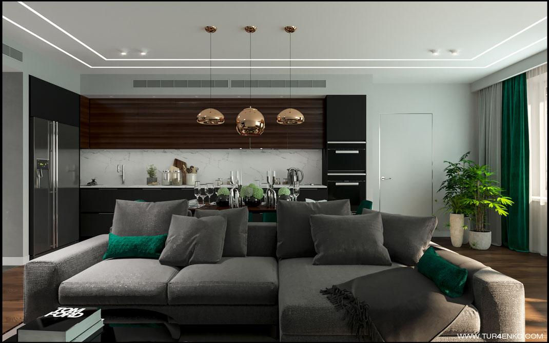"""дизайн кухни-гостиной в современных тонах в ЖК """"Арт"""" Крост 89163172980 Дизайн интерьеров Москва"""