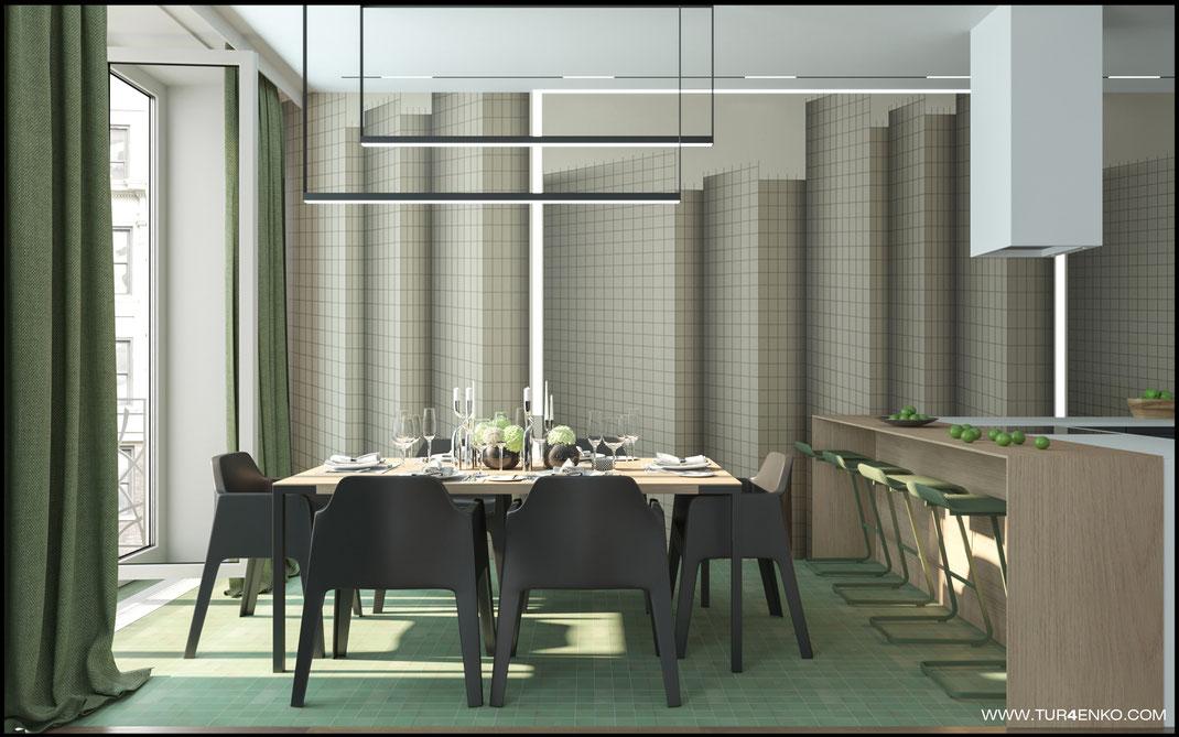 стильные обои Wall&deco в интерьере кухни-гостиной в ЖК Премиум квартал JAZZ 89163172980
